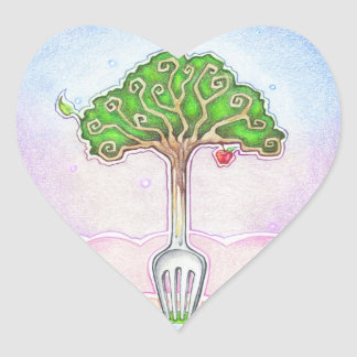 SUSTAINABLE, FOOD FOR LIFE HEART STICKER