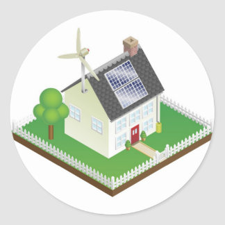 Sustainable renewable energy house classic round sticker