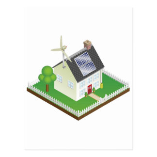 Sustainable renewable energy house postcard