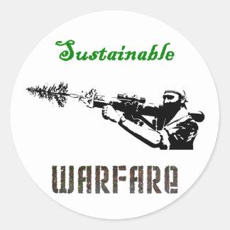 """Sustainable Warfare"" Classic Round Sticker"