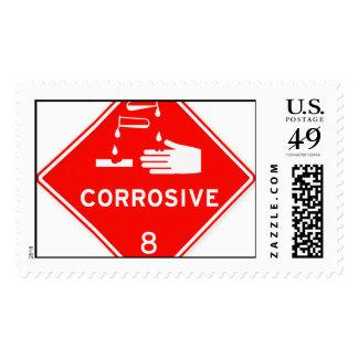 Sustancias químicas rojas de la muestra de la timbres postales