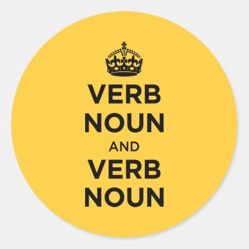 Sustantivo del verbo y sustantivo del verbo - pegatina redonda