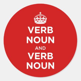 Sustantivo del verbo y sustantivo del verbo pegatina redonda