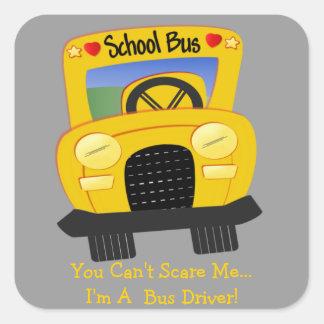 Susto del conductor del autobús (personalizable) colcomanias cuadradass