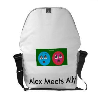 Susto sonriente de Alex y del aliado Bolsas De Mensajeria