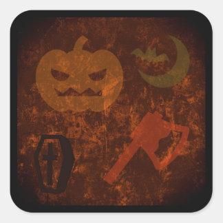 Sustos de Halloween en fondo misterioso Pegatina Cuadrada
