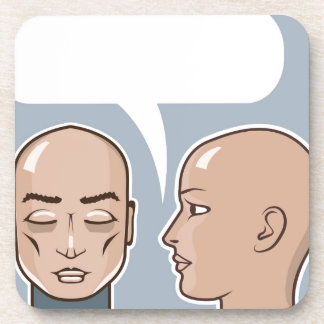 Susurro en la burbuja del discurso del oído posavasos de bebida