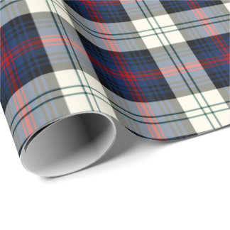 Sutherland Clan Dress Tartan Blue and White Plaid Wrapping Paper