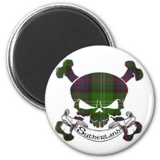 Sutherland Tartan Skull 2 Inch Round Magnet