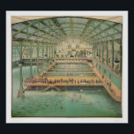 """Sutro Baths (1210) Poster<br><div class=""""desc"""">The Bancroft Library Presents: Interior view of San Francisco baths showing large pool,  smaller pools,  and platforms. Onlookers on upper platforms viewing mostly male bathers. Structure of building detailed. Chromolithograph by unknown artist,  1900.</div>"""