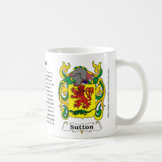 Sutton Family Coat of Arms on a mug