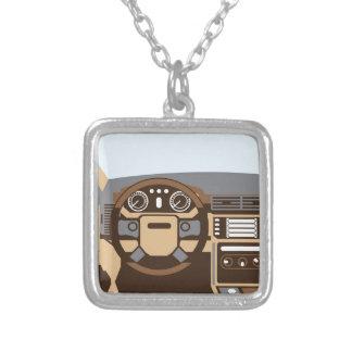 SUV Interior vector Silver Plated Necklace
