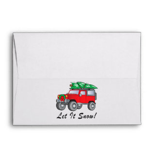 SUV with Christmas Tree: Let It Snow! Envelope