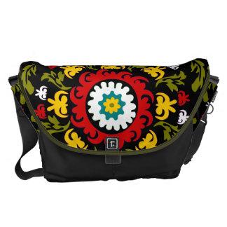 Suzani floral lindo, arte popular bolsa messenger