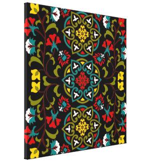 Suzani floral lindo y decorativo, arte popular impresion de lienzo