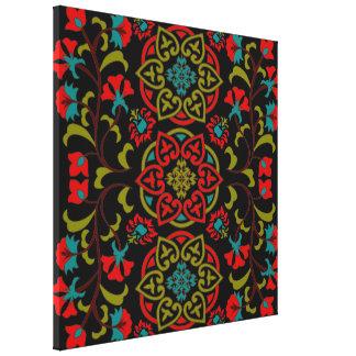Suzani floral lindo y decorativo, arte popular impresión en lona estirada