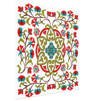 Suzani floral lindo y decorativo, arte popular impresiones en lona