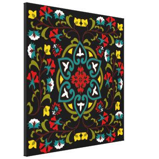 Suzani floral lindo y decorativo, arte popular lienzo envuelto para galerías