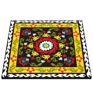 Suzani floral lindo y decorativo, arte popular impresión en tela