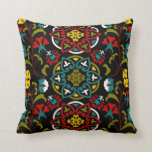 Suzani floral pattern, folk art pillow