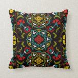 Suzani floral pattern, folk art throw pillows
