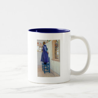 Suzanne Decorative Painting on Wall Two-Tone Coffee Mug