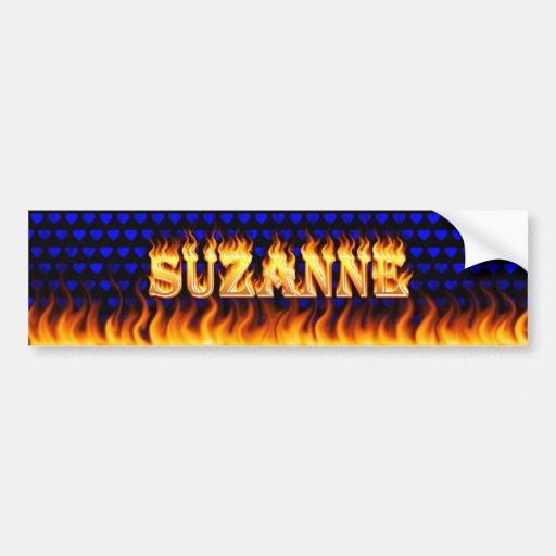Suzanne real fire and flames bumper sticker design