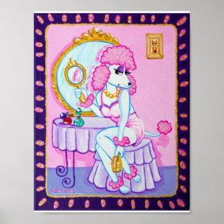 Suzette la impresión rosada del caniche póster