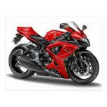 suzuki GSX-R600 Red Bike Postcards