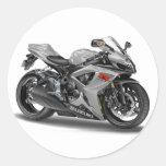 Suzuki GSX-R600 Silver Bike Round Stickers