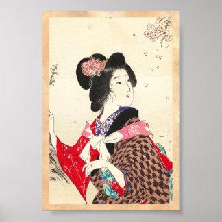 Suzuki Kason Sakura japanese woman lady art Poster