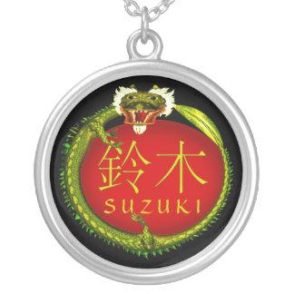 Suzuki Monogram Dragon Silver Plated Necklace