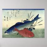 Suzuki y Kimmedai: Impresión japonesa de los pesca Impresiones
