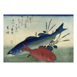 Suzuki y Kimmedai: Impresión japonesa de los pesca Póster