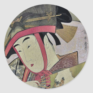 Suzume of Yoshiwara by Kitagawa, Utamaro Ukiyoe Classic Round Sticker