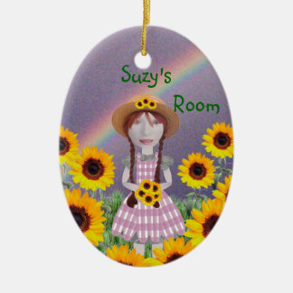Suzy Sunflower Double-Sided Oval Ceramic Christmas Ornament