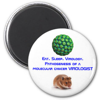 SV40, hamster, Eat. Sleep. Virology.Pathogenesi... 2 Inch Round Magnet