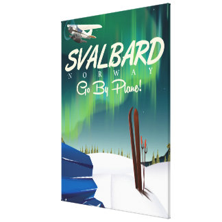 svalbard Norway Northern lights travel poster Canvas Print