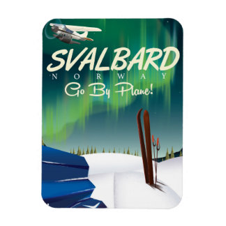 svalbard Norway Northern lights travel poster Magnet