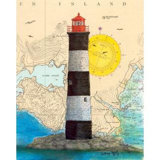 Canada Lighthouse Chart Art