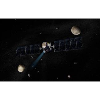 Artist's concept of the Dawn spacecraft in orbi