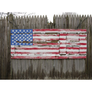 An American flag picket fence