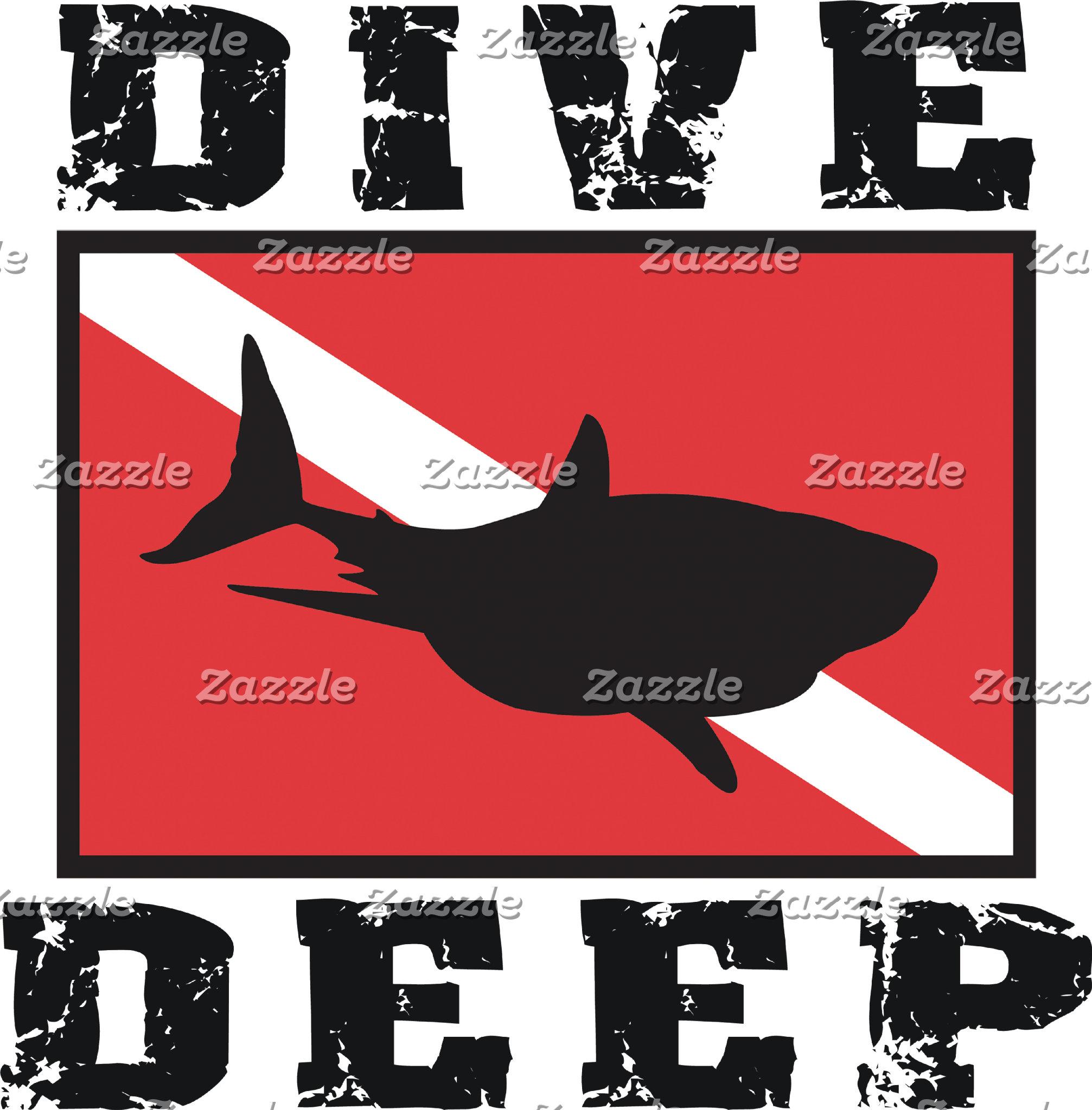 Dive Deep Shark SCUBA Flag T-Shirt Gift