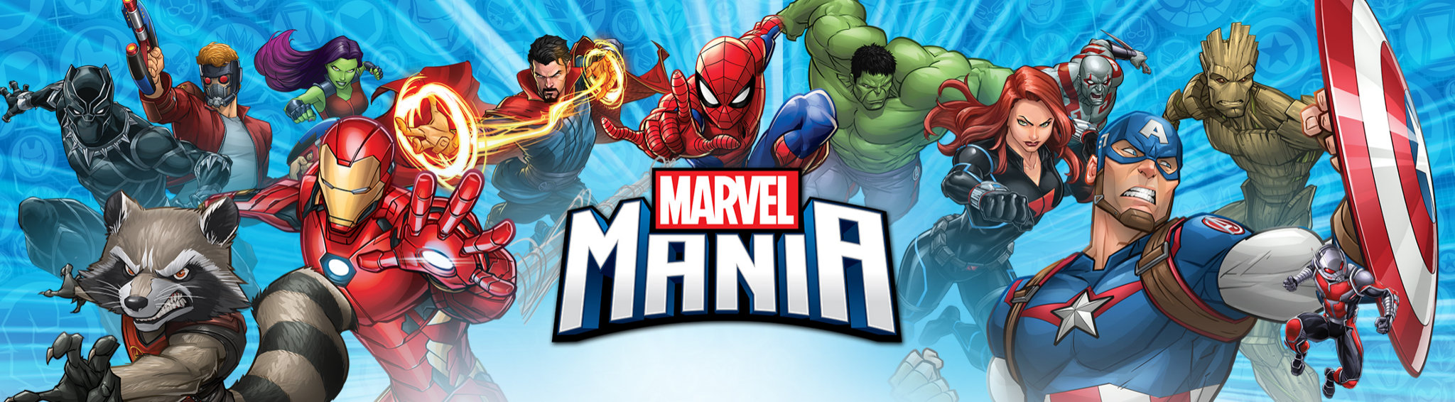Marvel banner with Iron Man, Hulk, Spider-Man, Captain America, Doctor Strange and others