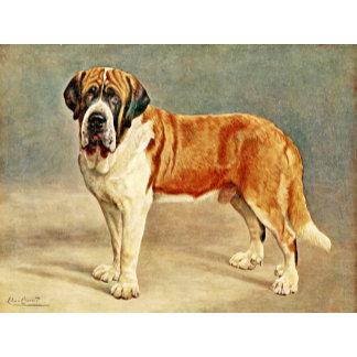 Vintage Saint Bernard dog painting