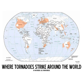 Where Tornadoes Strike Around The World (Map)