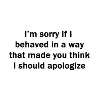 I'm sorry if I behaved...