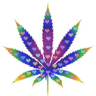 Rainbow Hearts Marijuana Leaf