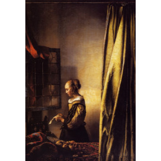 A Girl Reading a Letter at an Open Window
