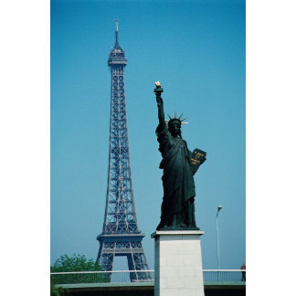 Eiffel Tower and Statue of Liberty,Paris, France